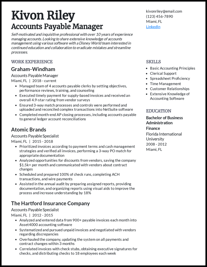 Accounts Payable Manager resume example
