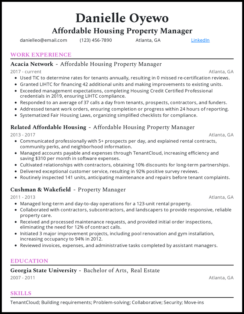 Affordable Housing Property Manager resume example
