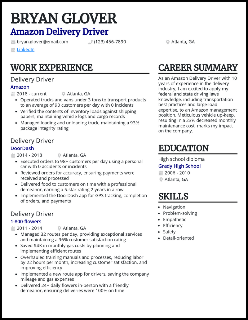 Amazon Delivery Driver resume example