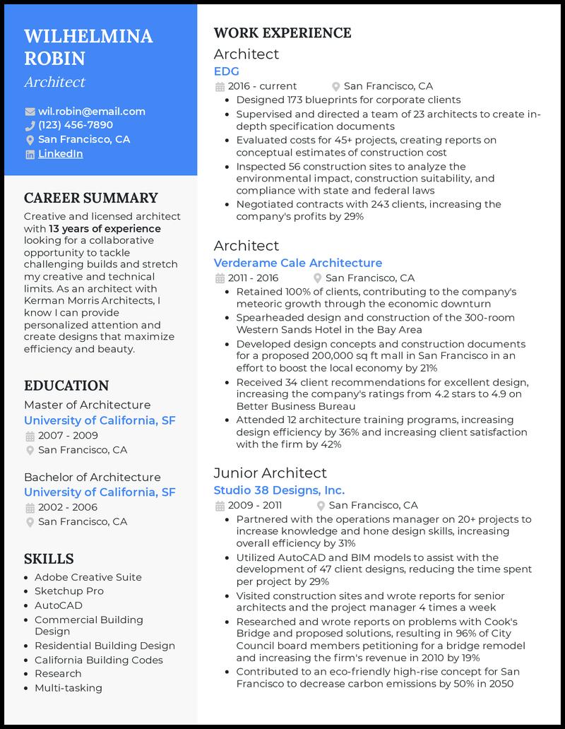 Architecture Resume resume example
