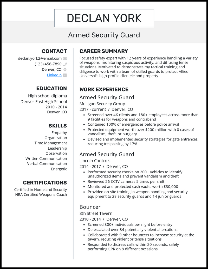 Armed Security Guard resume example