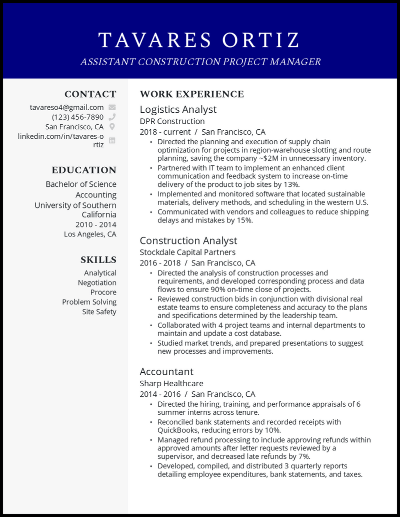 Assistant Construction Project Manager resume example