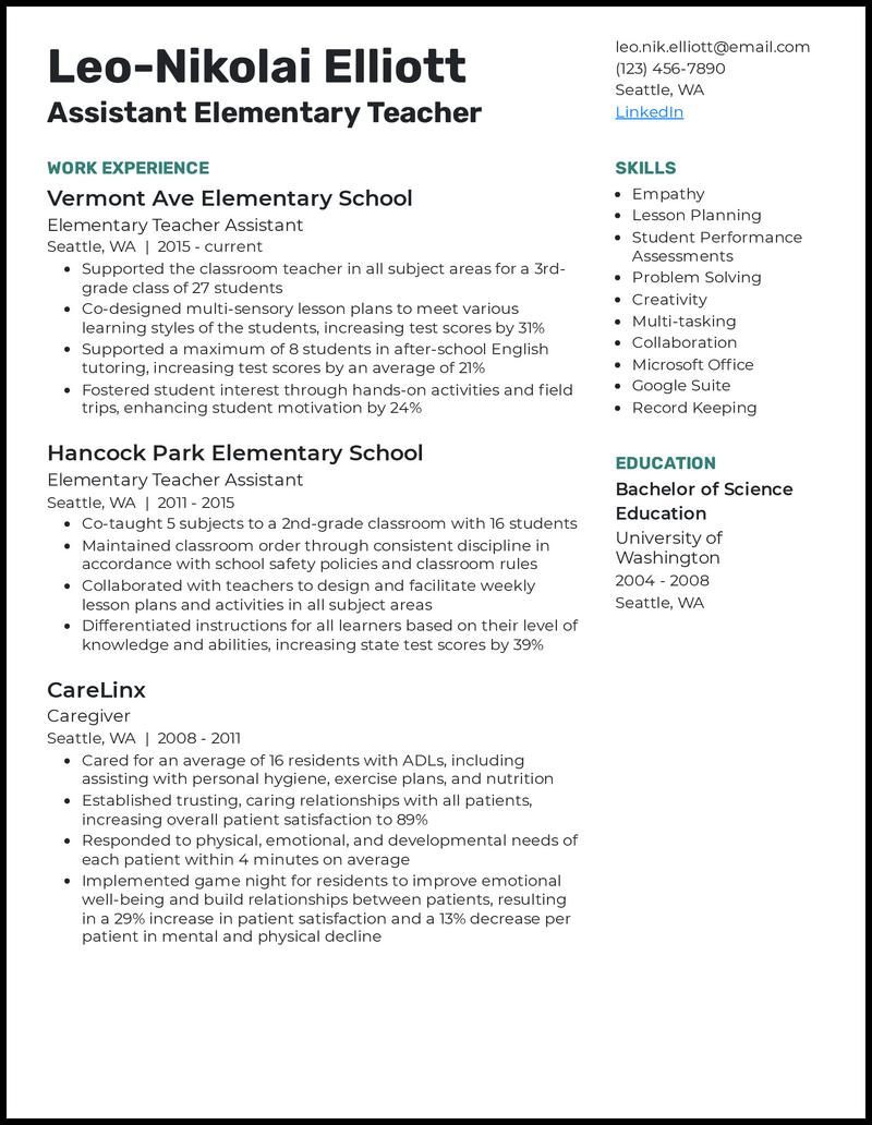 Assistant Elementary Teacher resume example