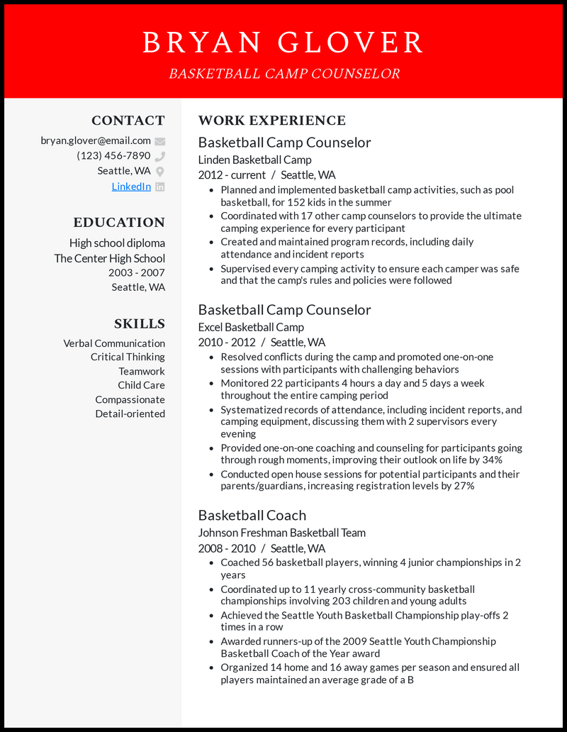 Basketball Camp Counselor resume example