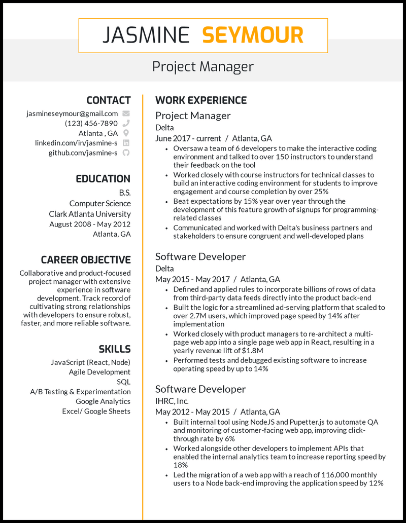 Business Management resume example