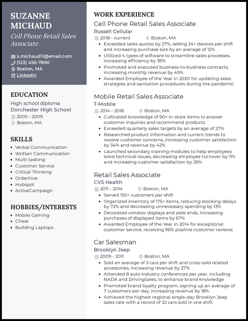 Cell Phone Retail Sales Associate resume example