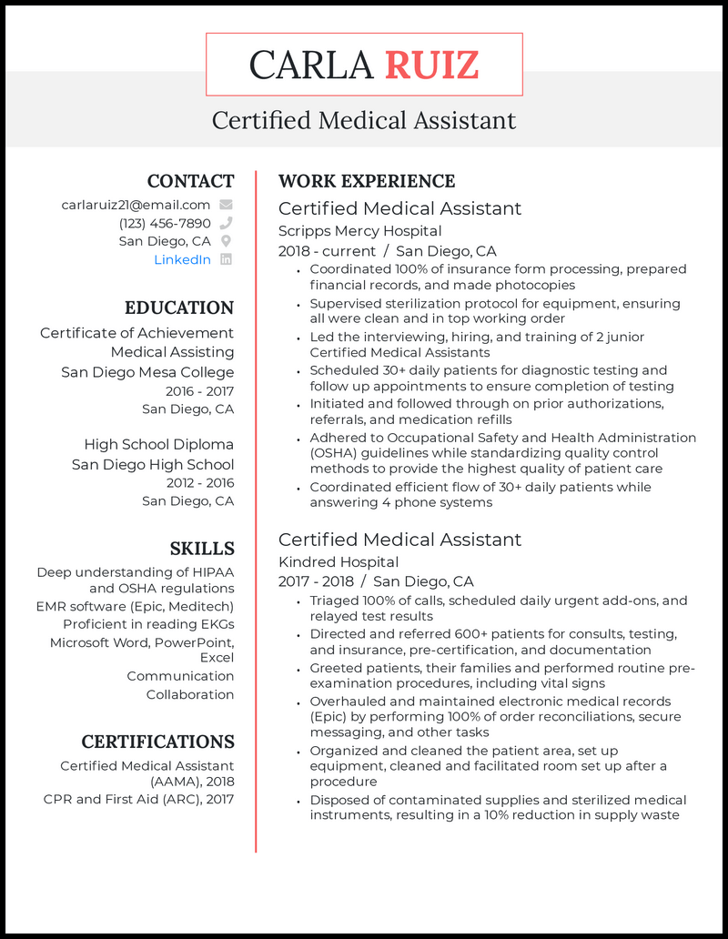 Certified medical assistant resume example