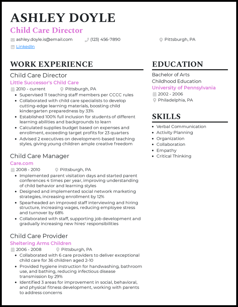 Child Care Director resume example