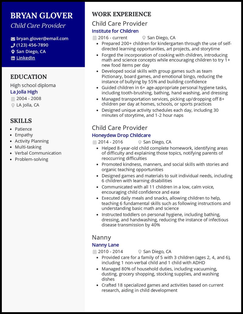 Child Care Provider resume example