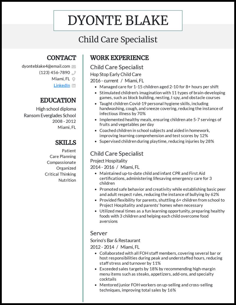Child Care resume example