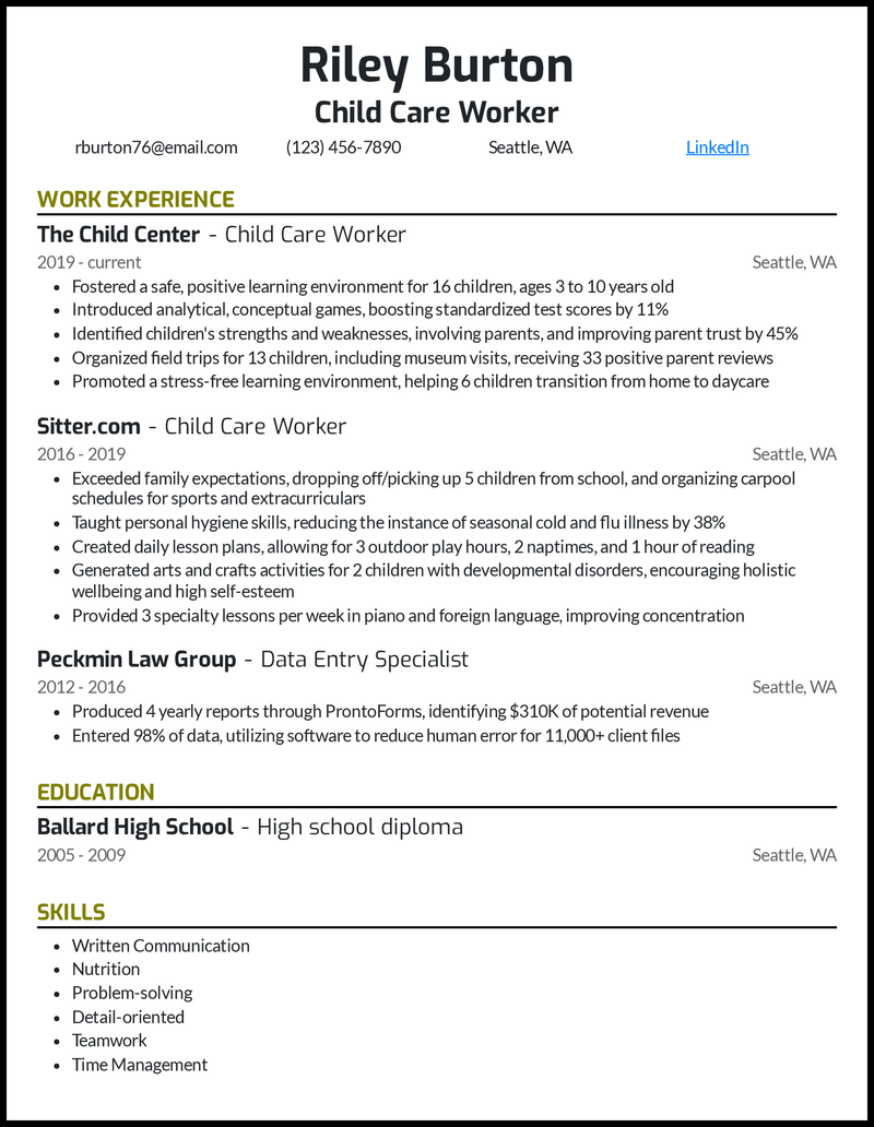 Child Care Worker resume example