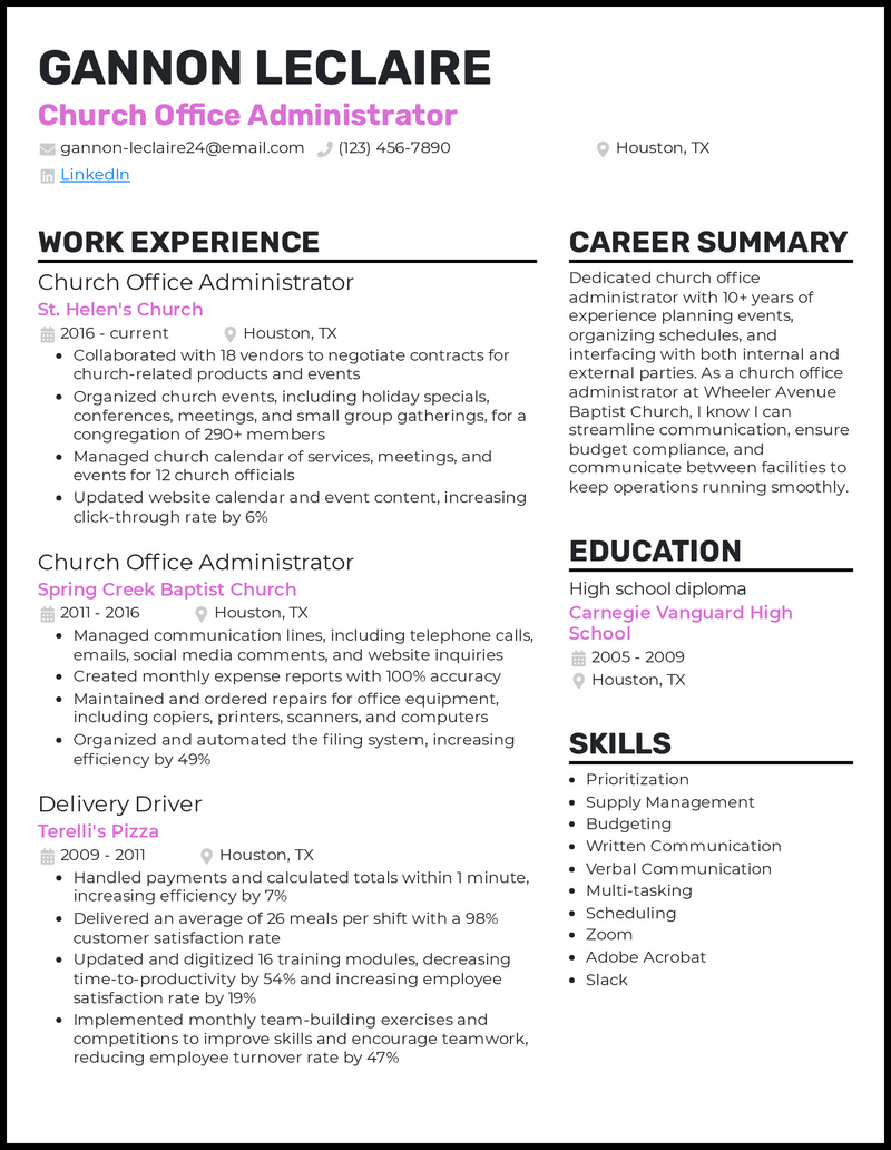 Church Office Administrator resume example