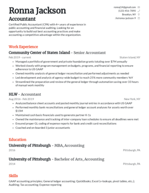 Classic resume template