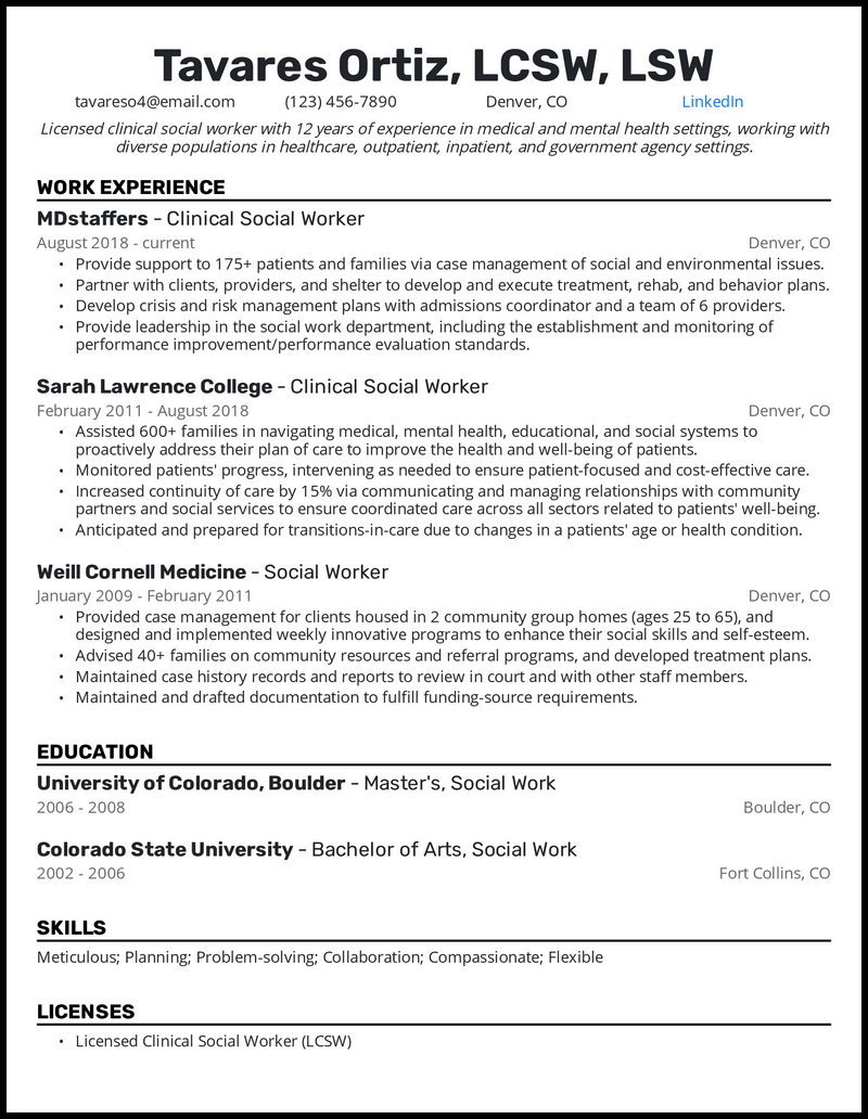 Clinical Social Worker resume example