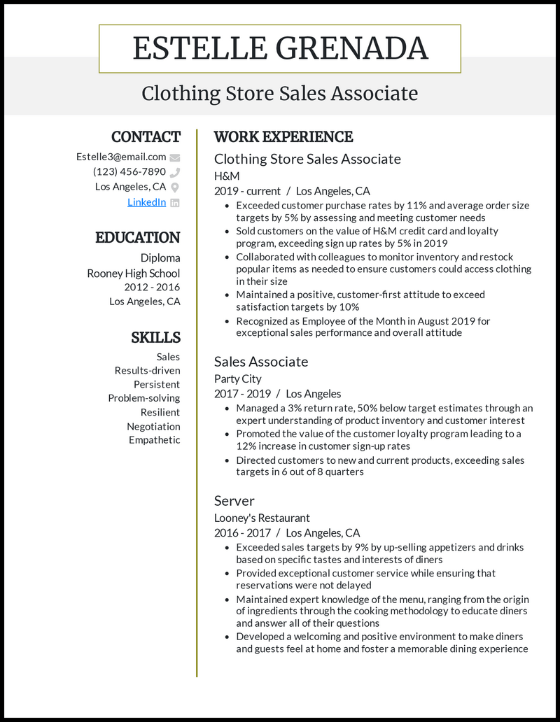30 Sales Associate Resume Examples For 30
