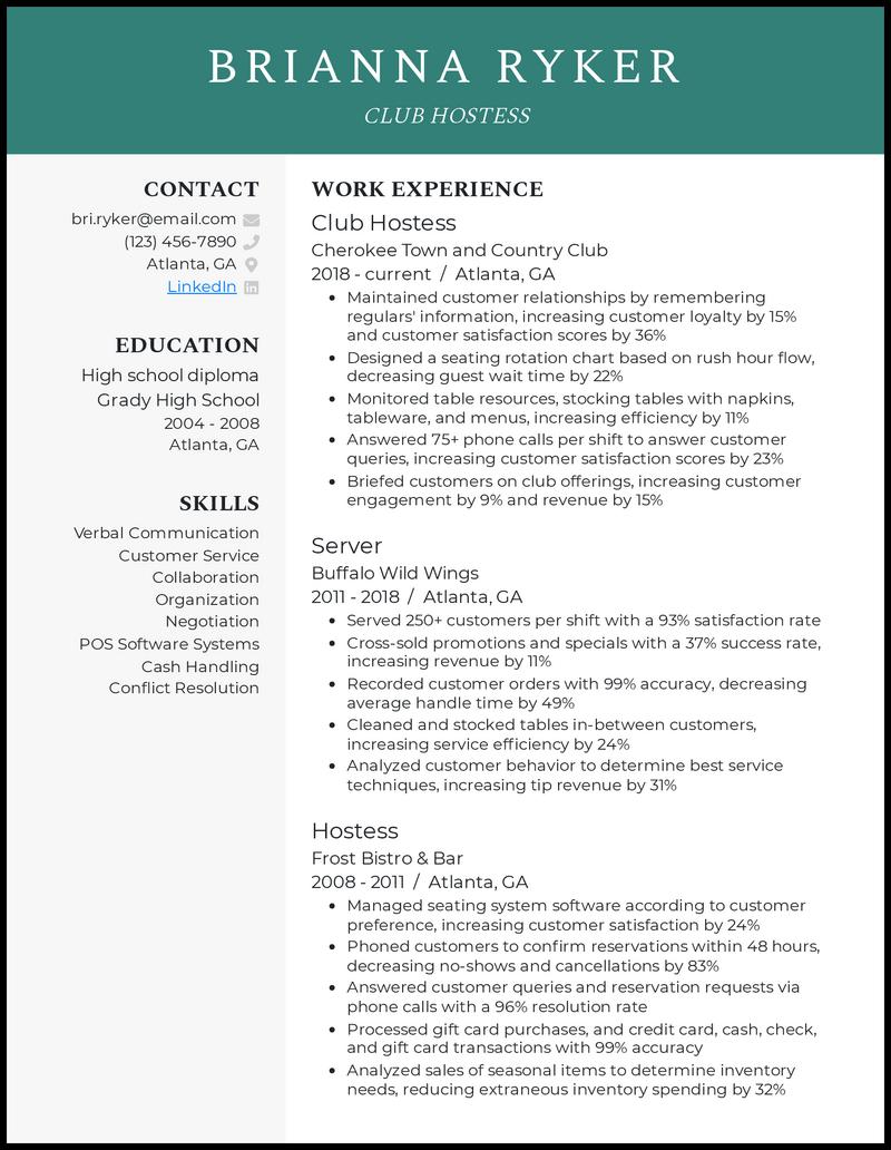 Club Hostess resume example