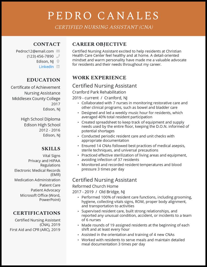 CNA resume example