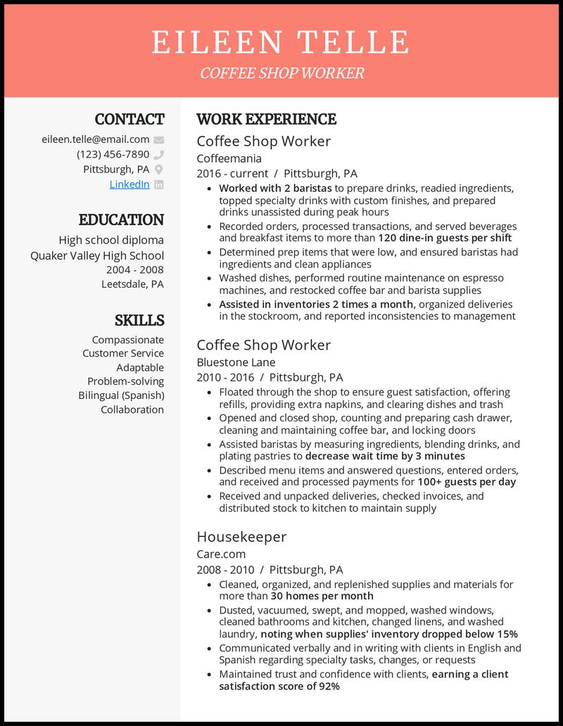 Coffee Shop resume example