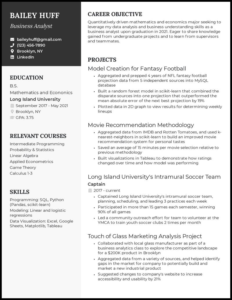 College Graduate resume example