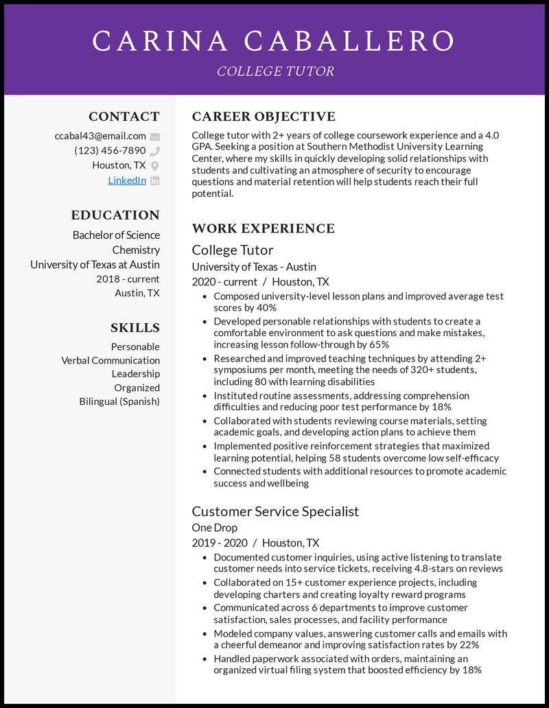 College Tutor resume example
