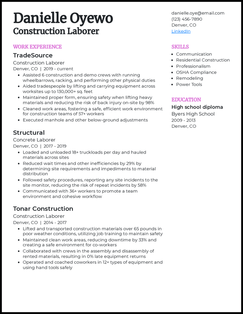 Construction Laborer resume example