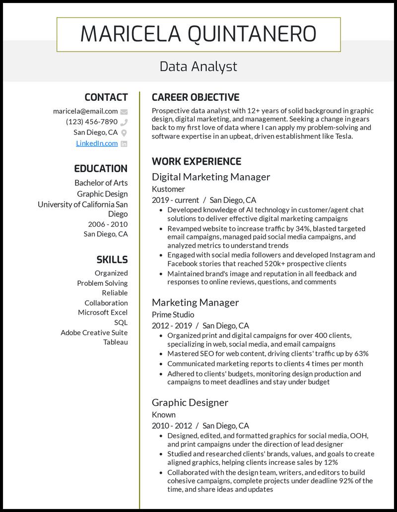 Data Analyst Career Change resume example