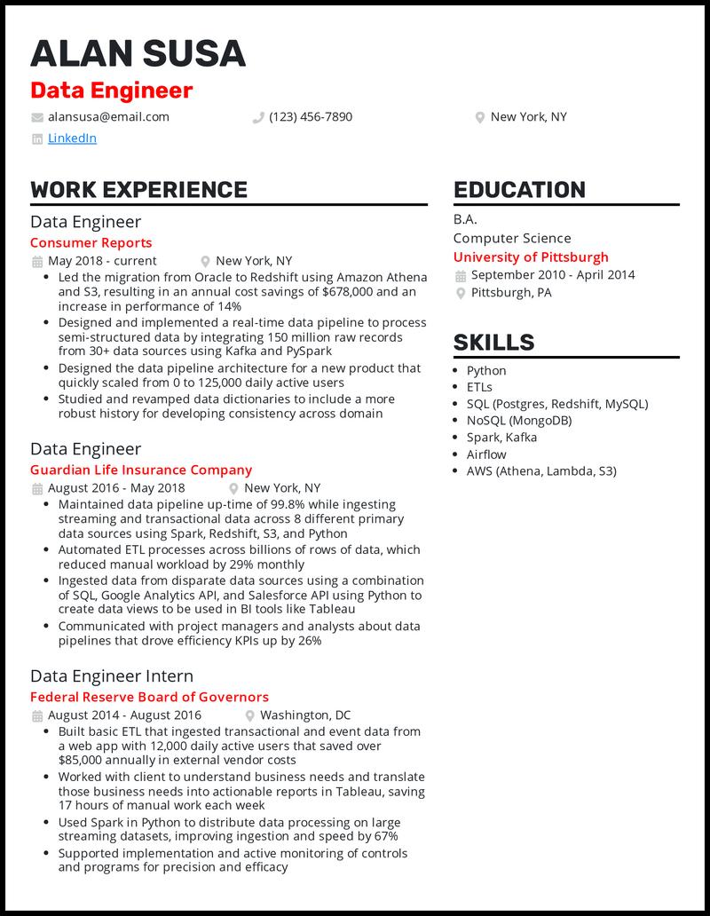 Data engineer resume example