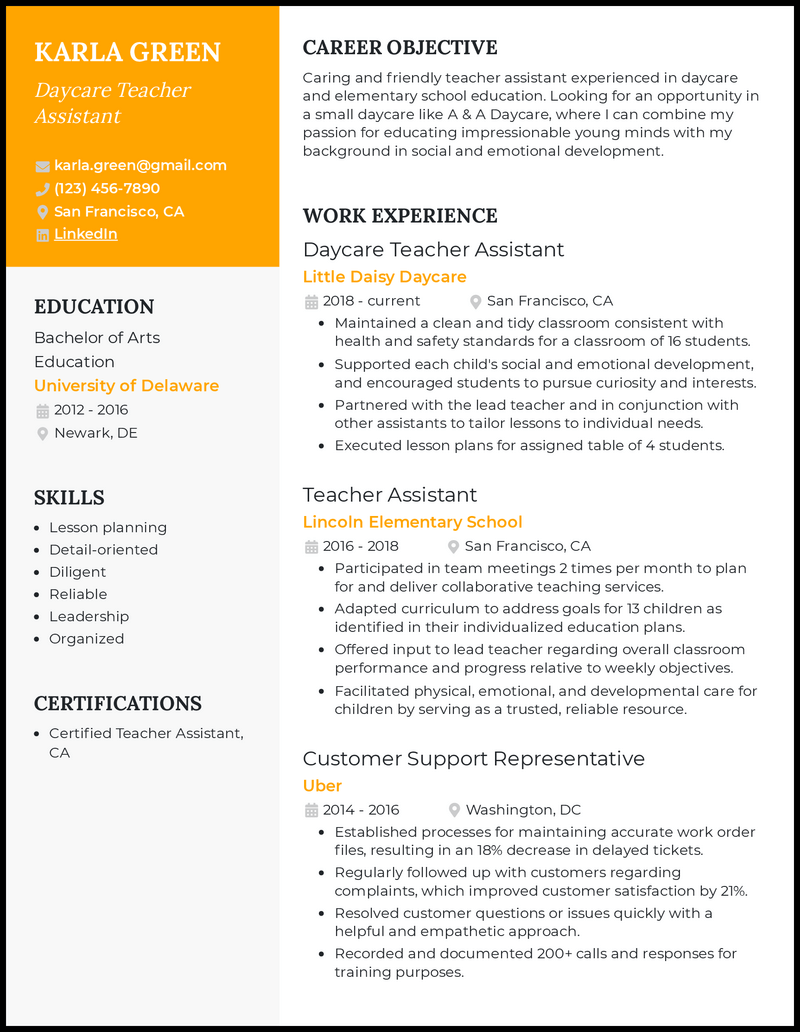 Daycare Teacher Assistant resume example