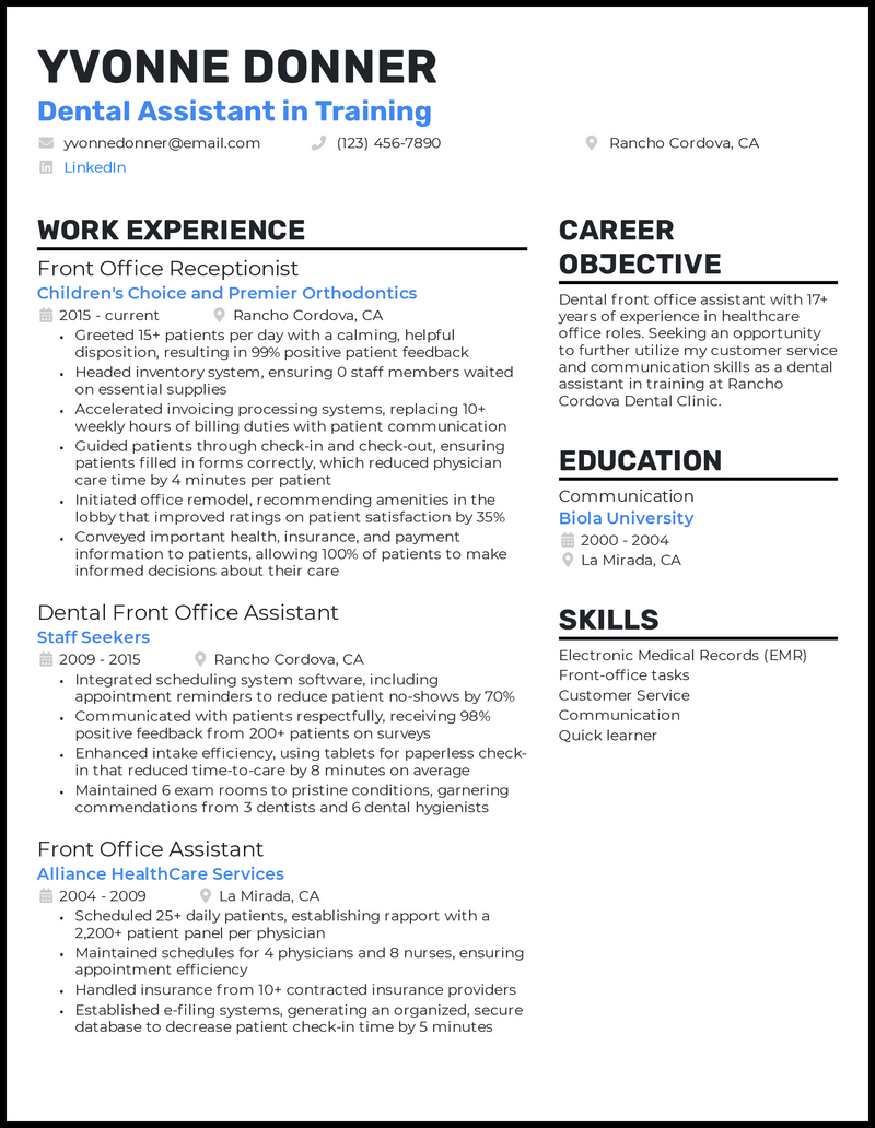 Dental Assistant In Training Resume Example