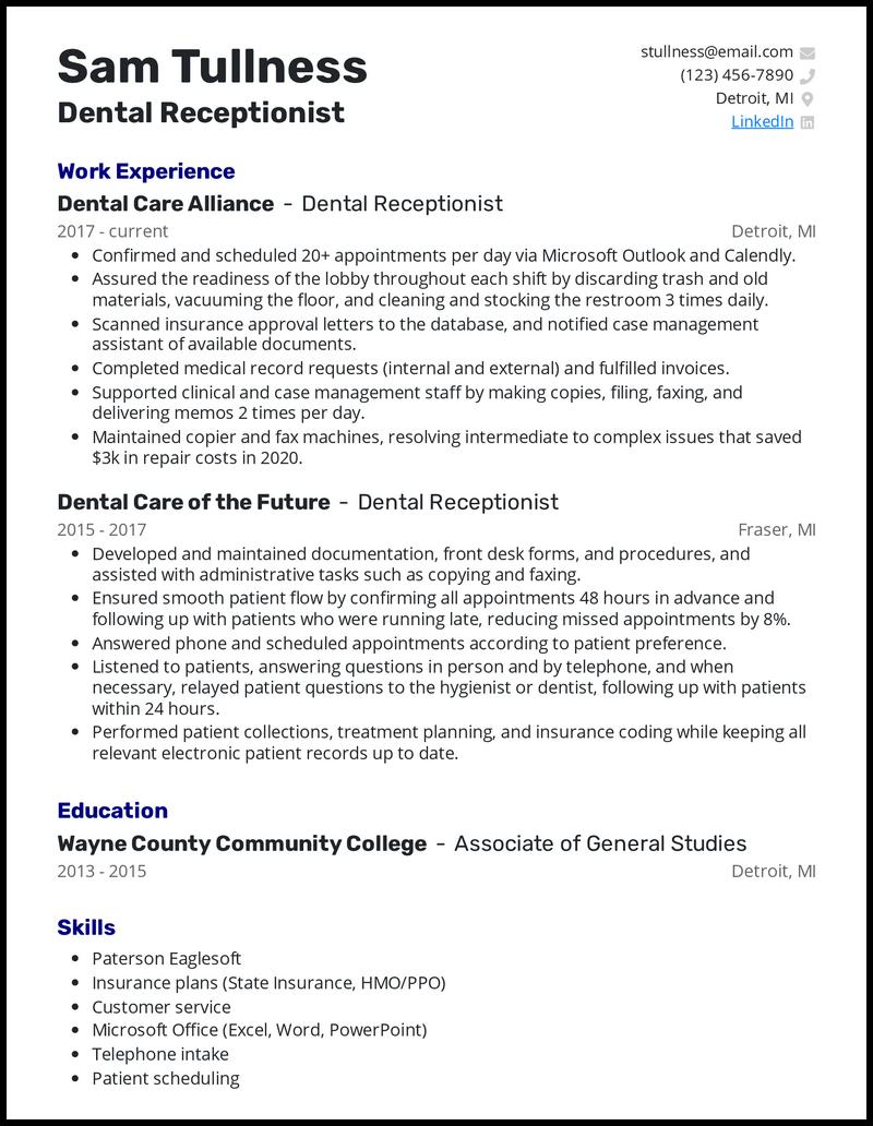 Dental Receptionist resume example