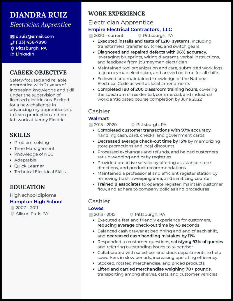 Electrician Apprentice resume example