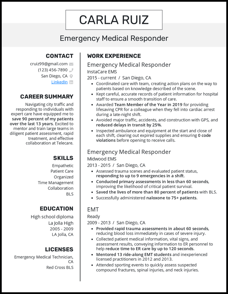 Emergency Medical Responder resume example
