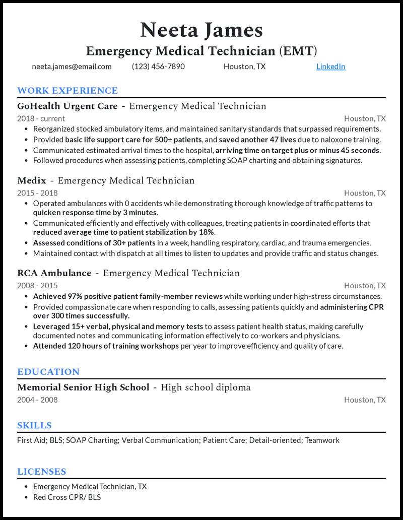 Emergency Medical Technician resume example