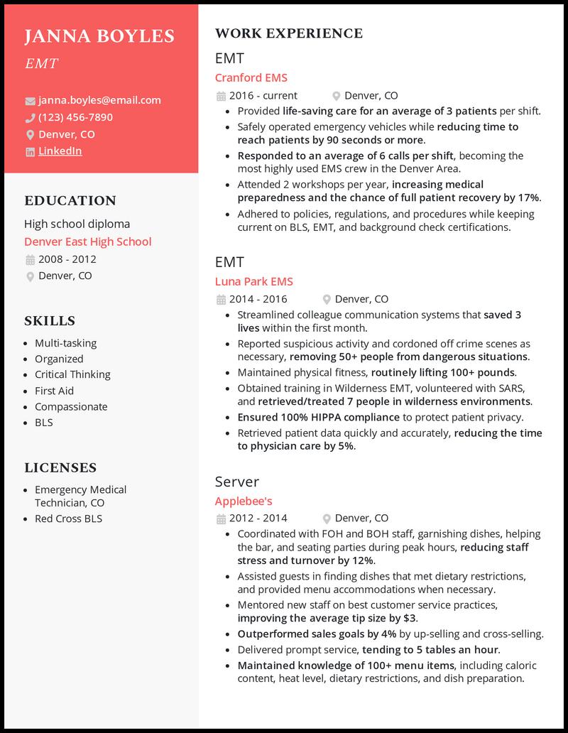 EMT resume example