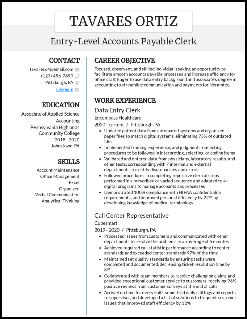 Entry Level Accounts Payable resume example