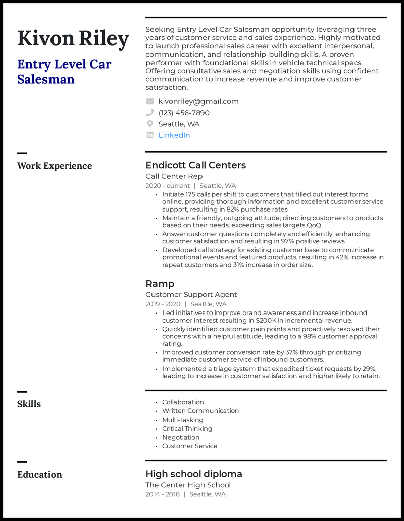 Entry Level Car Salesman resume example