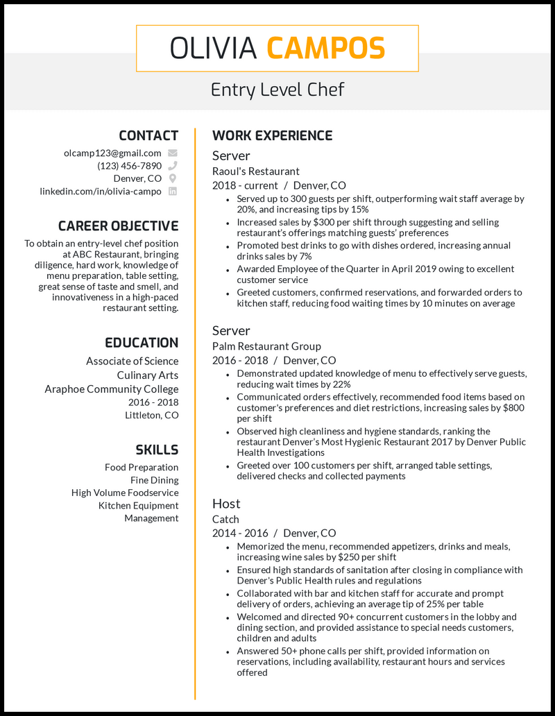 Entry Level Chef resume example