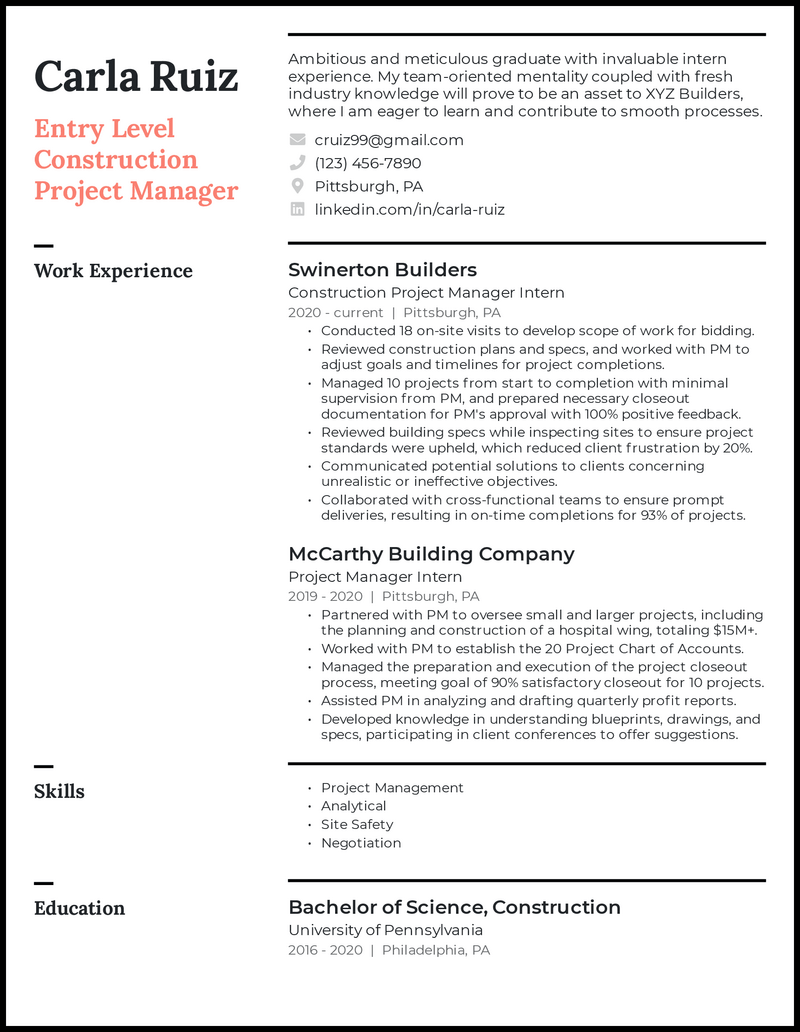 Entry Level Construction Project Manager resume example