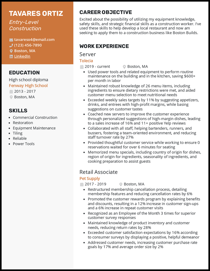 Entry Level Construction resume example