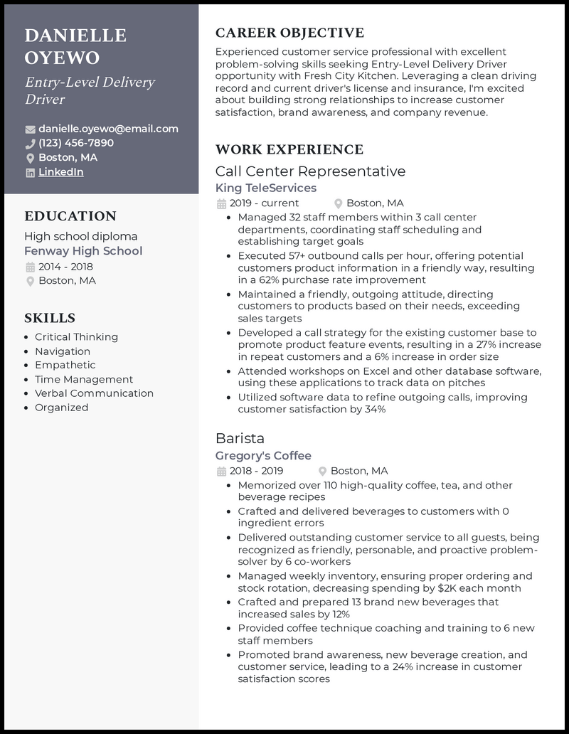 Entry Level Delivery Driver resume example