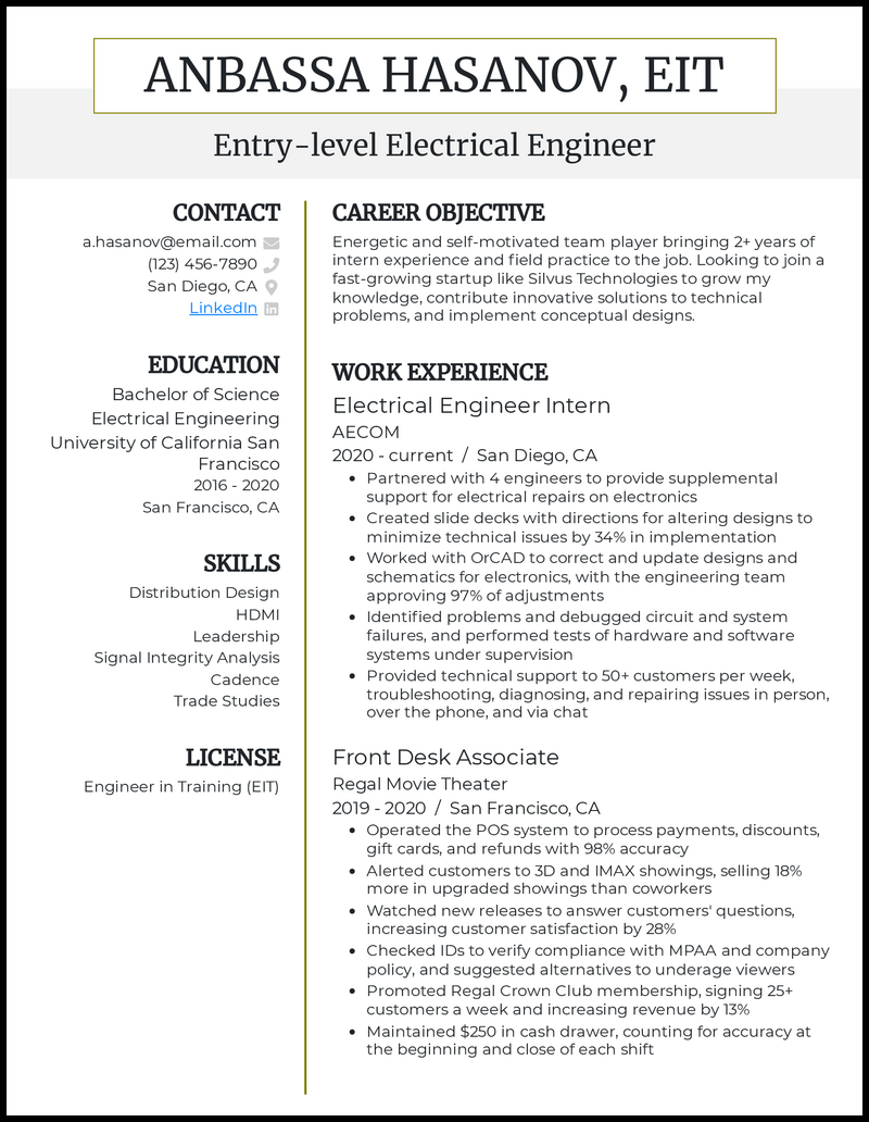 Entry Level Electrical Engineer resume example