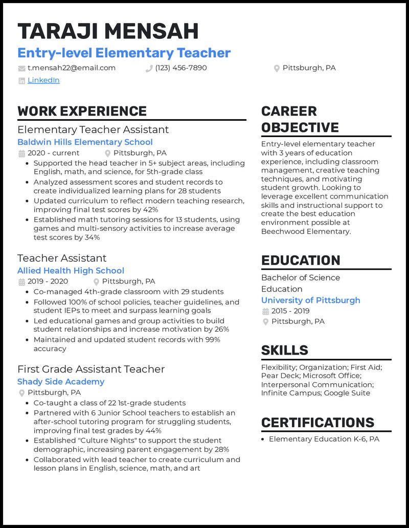 Entry Level Elementary Teacher resume example