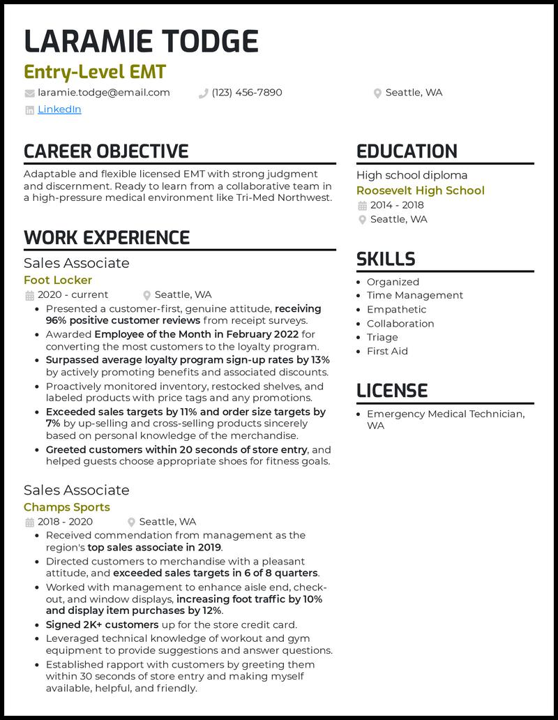 Entry Level EMT resume example