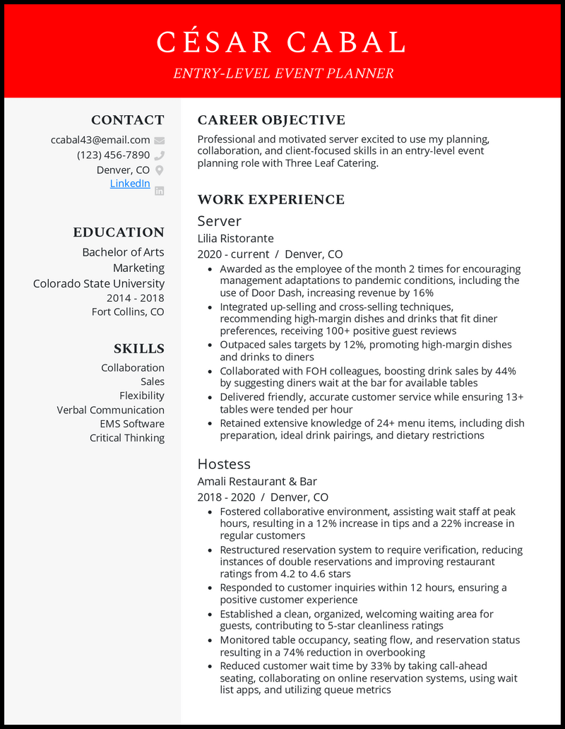 Entry Level Event Planner resume example