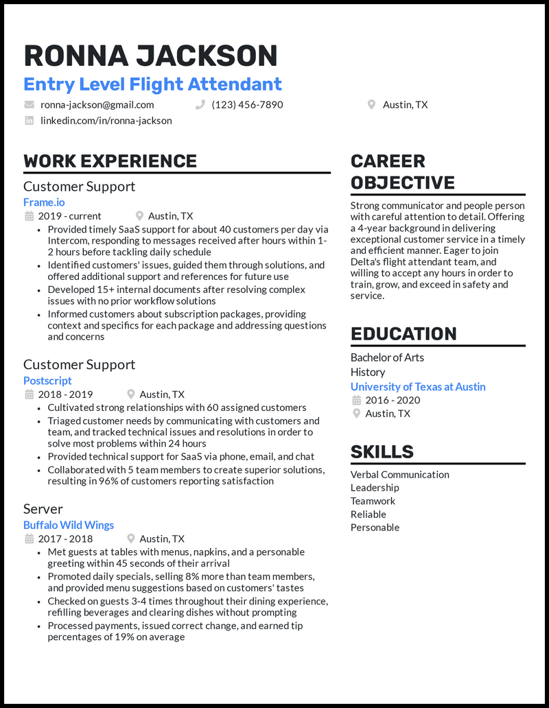 Entry Level Flight Attendant resume example