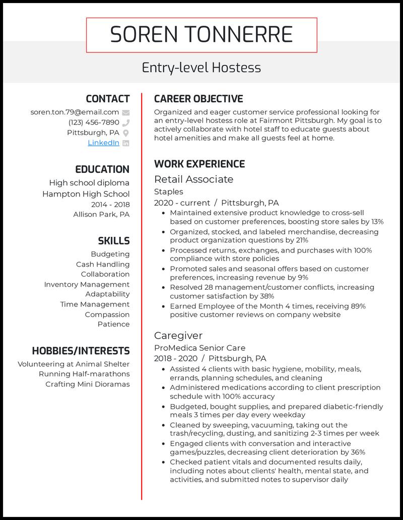 Entry Level Hostess resume example