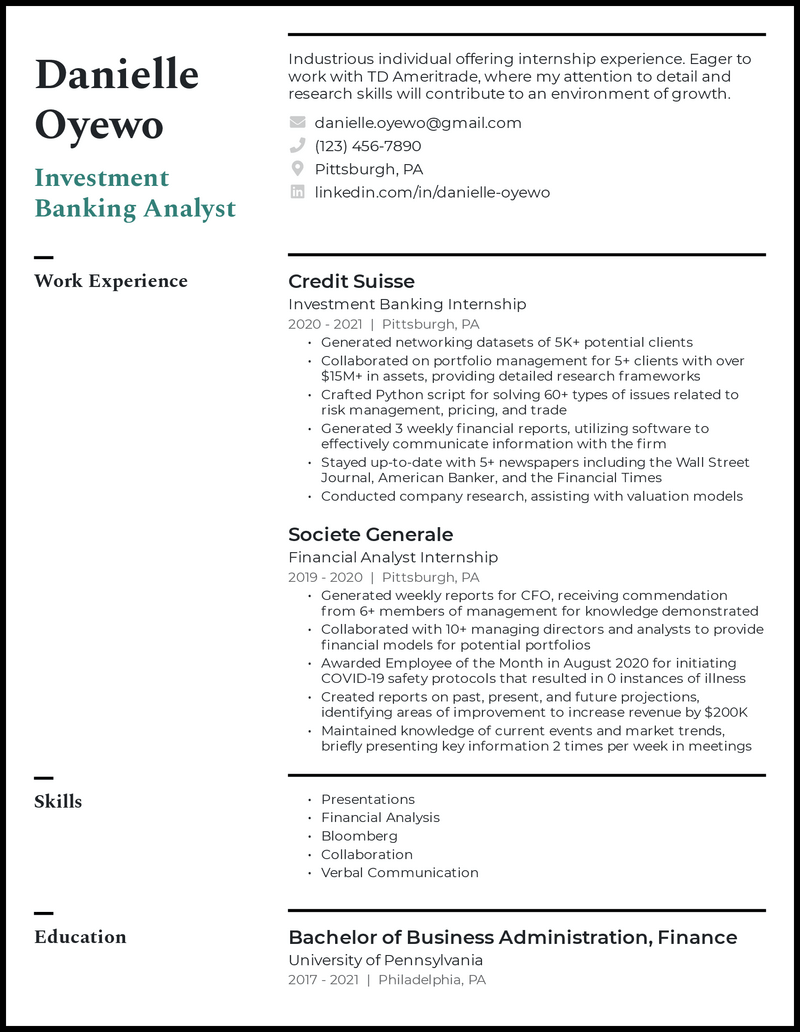 Entry Level Investment Banking resume example