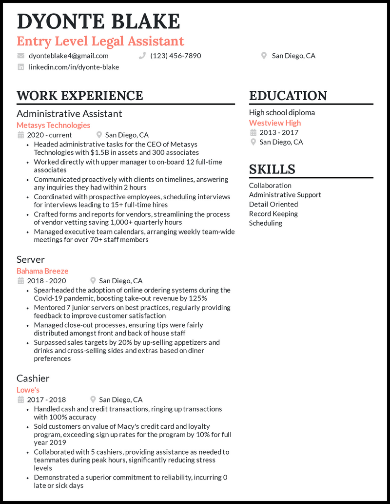 Entry Level Legal Assistant resume example