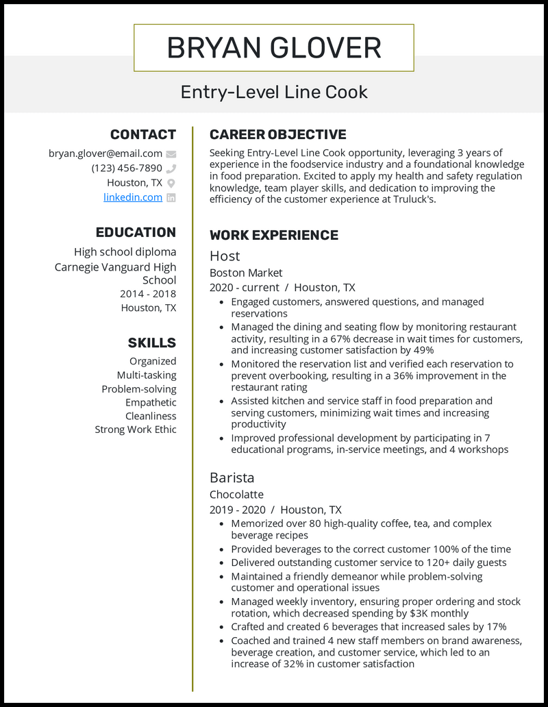 Entry Level Line Cook resume example