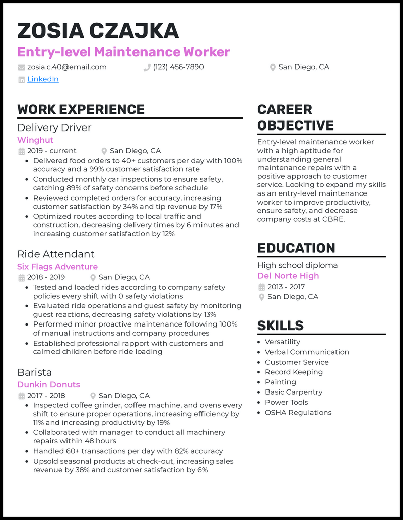 Entry Level Maintenance Worker resume example